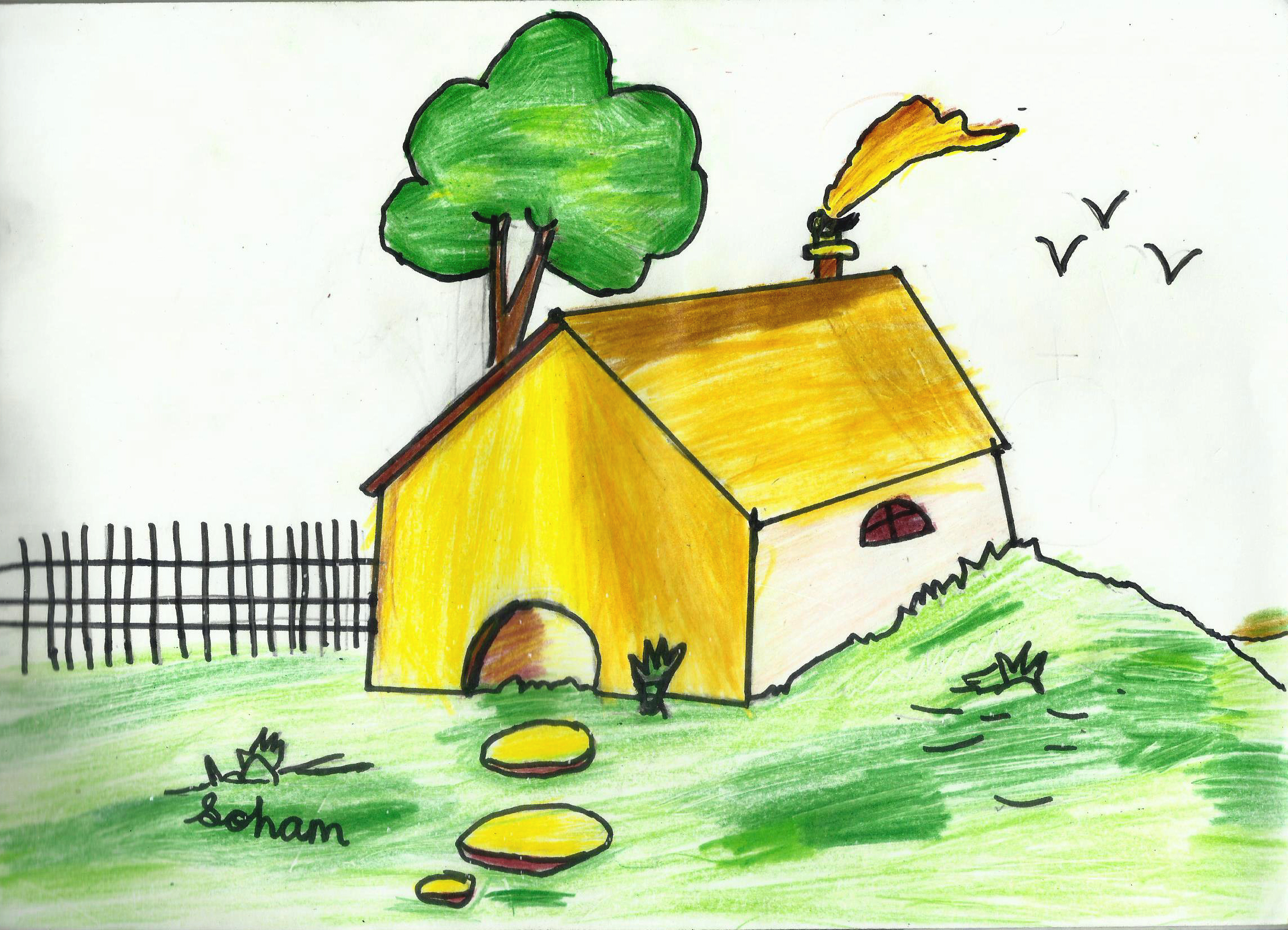 My Home Simple House Drawing For Kids Soham Sahu
