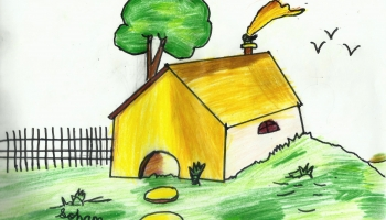 My Home – Simple House Drawing for Kids